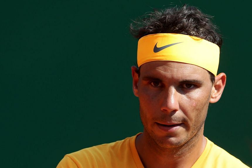 Nadal reacts during his semi-final match against Grigor Dimitrov of Bulgaria.