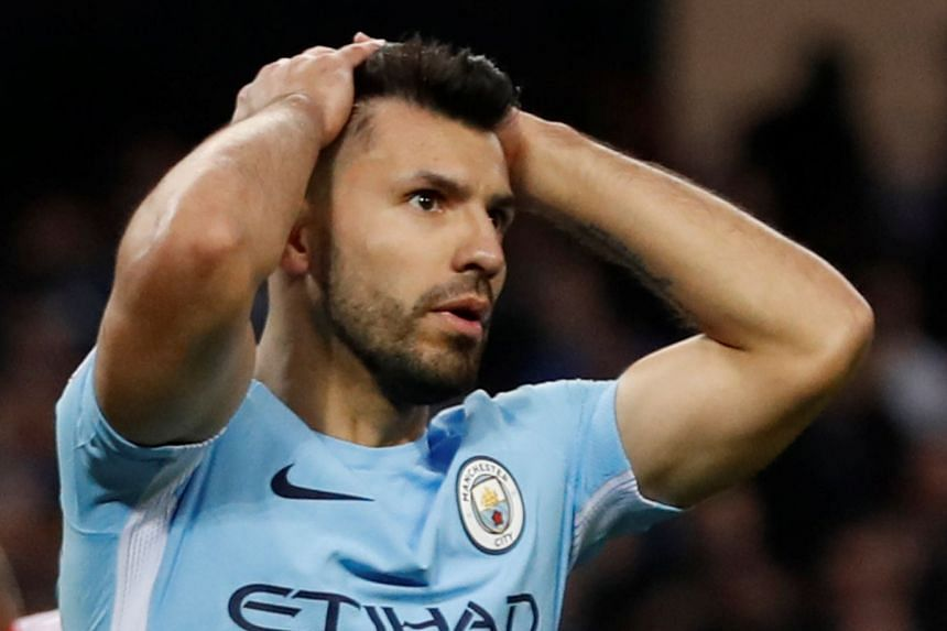 Manchester City's Sergio Aguero reacts after a missed chance.