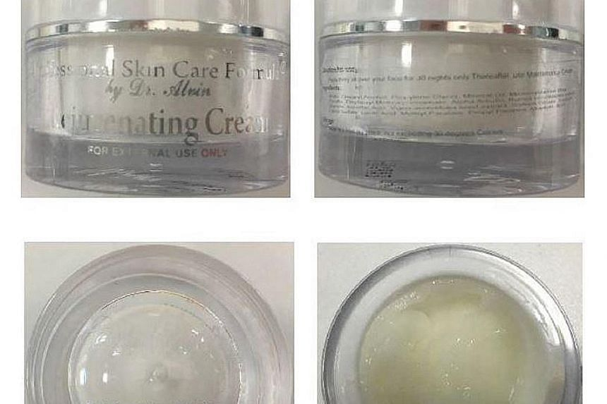 Some of the cosmetic products (above and below) which were recalled by the Health Sciences Authority. The undeclared ingredients included high levels of mercury, hydroquinone and tretinoin.
