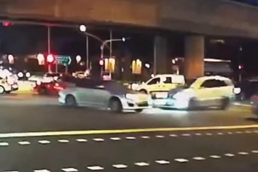 A car crashed into a Silvercab at the road junction on Thursday evening. Glass shards and debris were scattered across the accident area.
