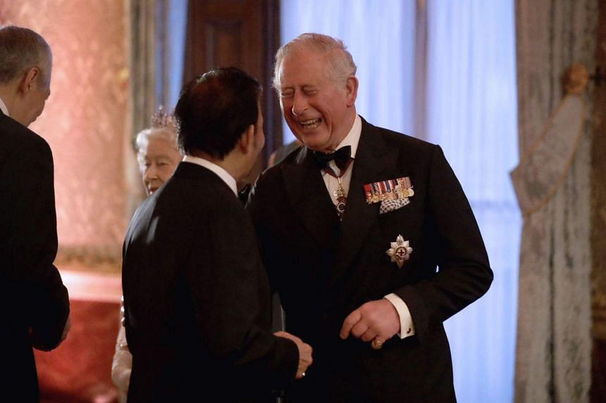 Prince Charles receiving Sultan of Brunei Hassanal Bolkiah at Buckingham Palace in London on April 19, 2018.