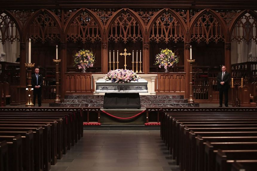 Visitation is held for former first lady Barbara Bush at St. Martin's Episcopal Church in Houston, Texas, on April 20, 2018.