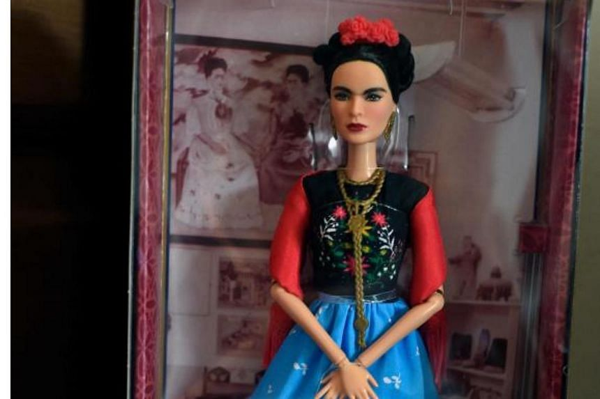 A Barbie doll depicting late Mexican artist Frida Kahlo, is exhibited at her sister's house in the neighborhood of Coyoacan, Mexico City, on April 19, 2018.