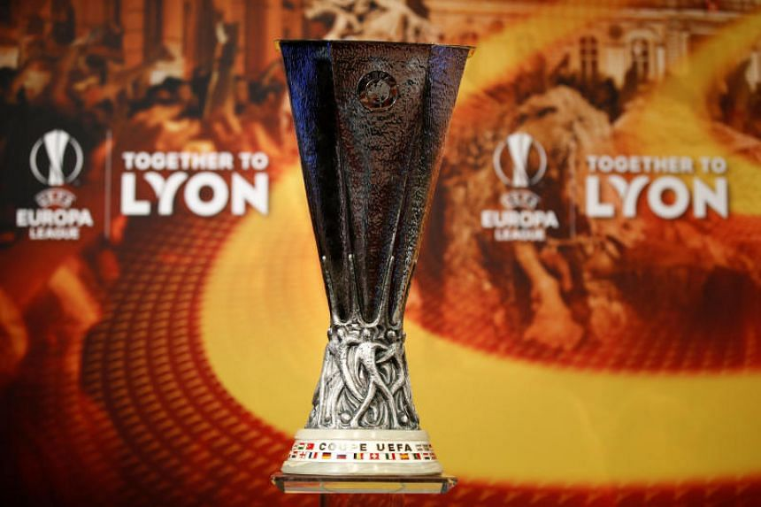 The Europa League trophy is displayed during draw for the semi-finals round of the football tournament in Nyon, Switzerland, on April 13, 2018.