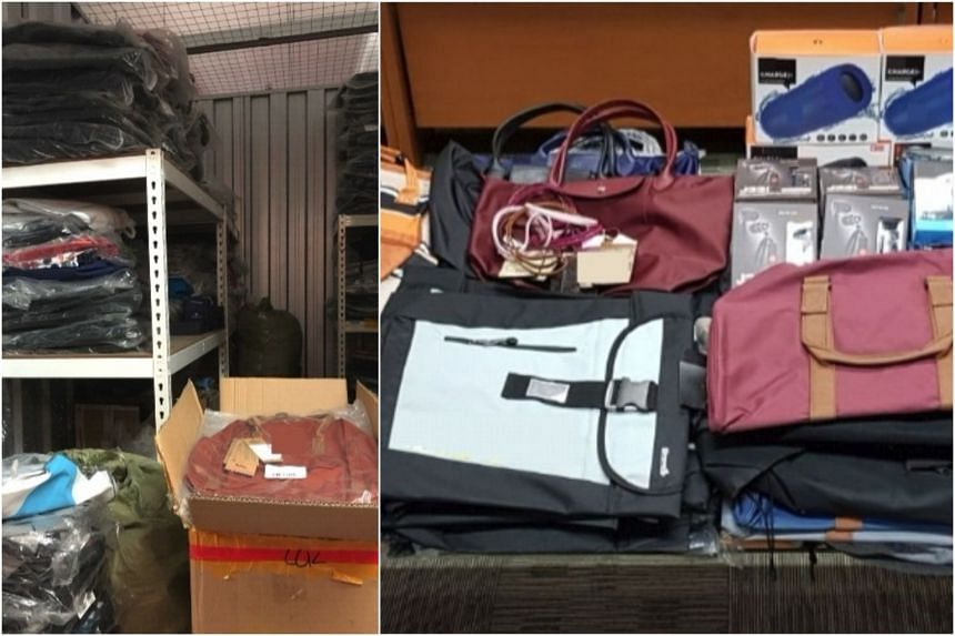 Items such as bags, wallets, earphones, Bluetooth speakers, sunglasses, watches, bracelets and card holders with an estimated street value of about $62,000 were seized.