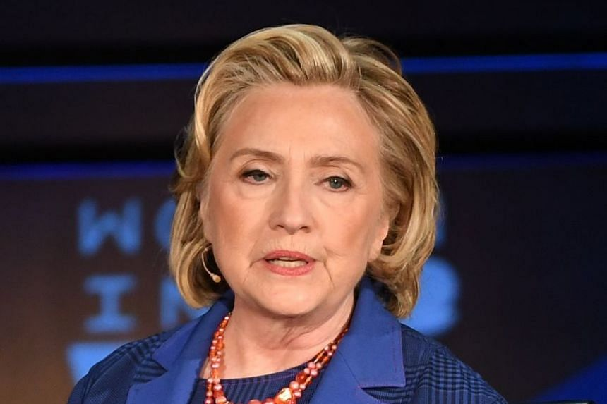Former secretary of state Hillary Clinton speaks onstage at the Women of the World Summit in New York City.