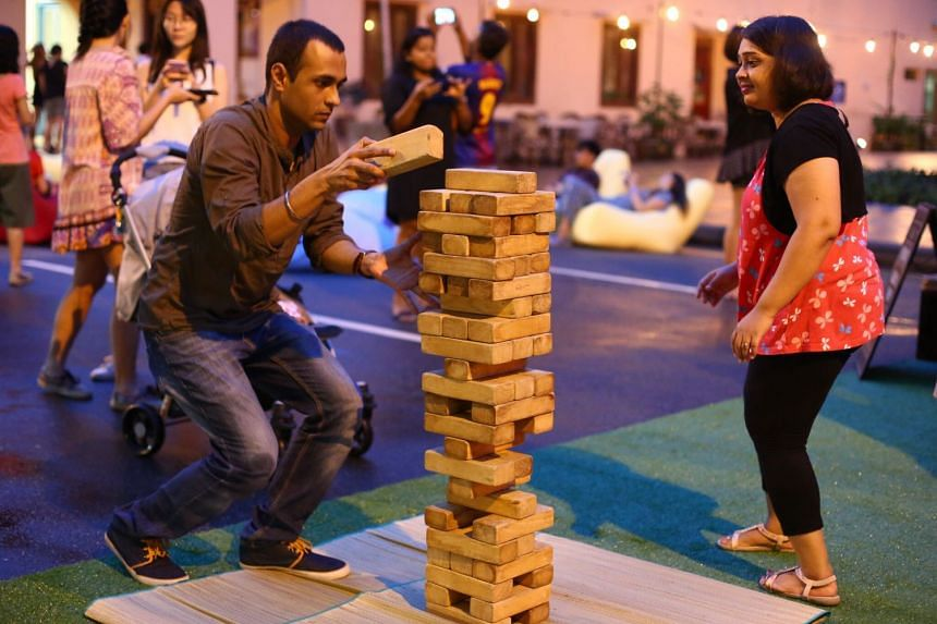 Giant pop-up games by Timbre, including a life-sized jenga game, is one of the features of the festival.
