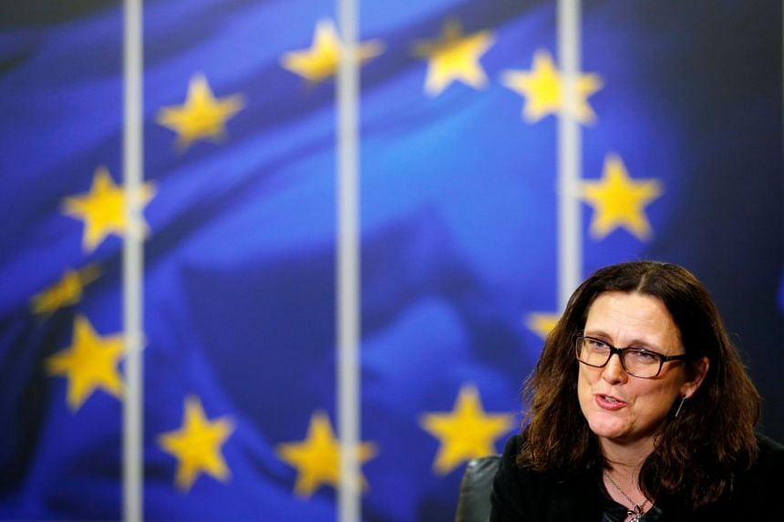 European Trade Commissioner Cecilia Malmstrom at the EU Commission headquarters in Brussels.