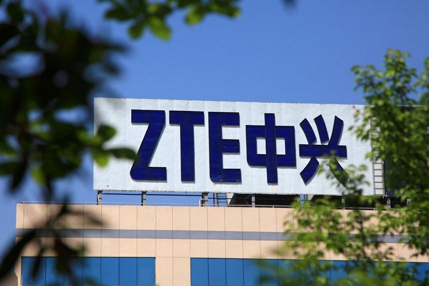 The logo of China's ZTE is seen on a building in Nanjing, Jiangsu province.