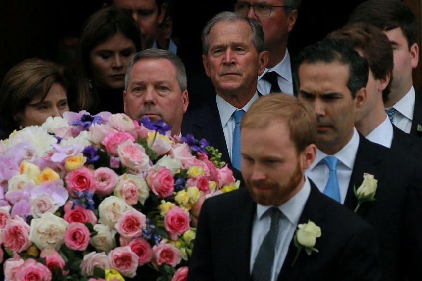 Former US President George W. Bush follows the casket of his mother, former first lady Barbara Bush.