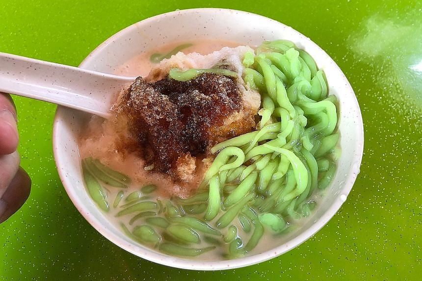 Makan Melaka's chendol (left) features on ST Food's list of the best chendol in Singapore.
