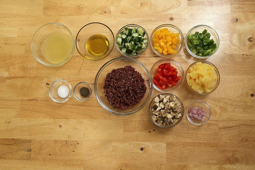Ms Wong Yuefen prepares the Rainbow Brown Rice Salad for her family at least once a month.