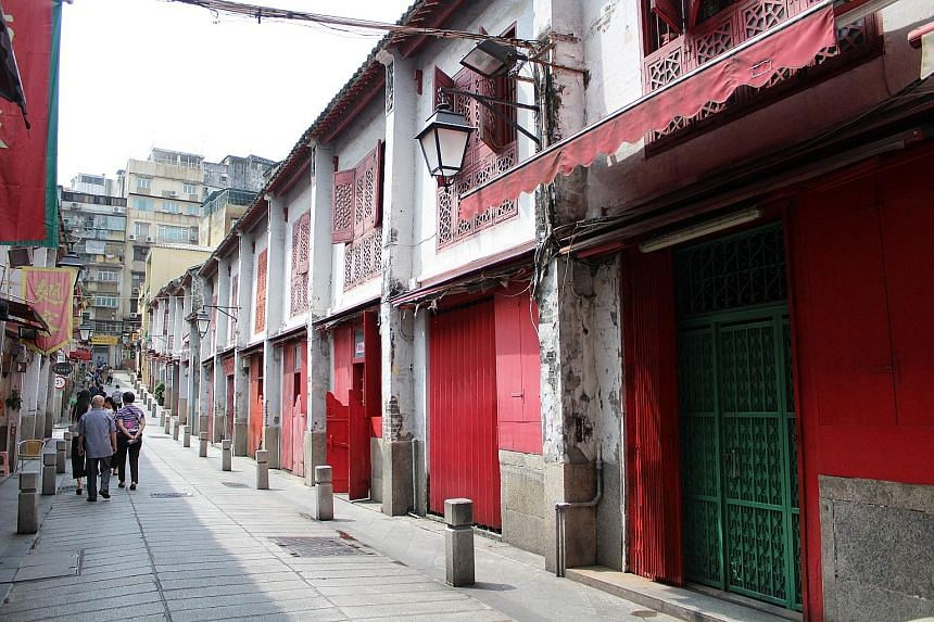 Popular filming sites include Rua da Felicidade (far left), Macau's former red-light district; San Va Inn (left), a walk-up guest house reminiscent of the 1950s; and the Macao Science Centre (right) designed by I.M. Pei. Glitzy locations for films in