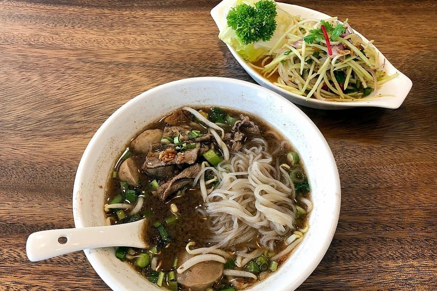 Boat noodles from Royal Thai Boat Noodles & Bar comes with glass noodles in a thick, robust stock.