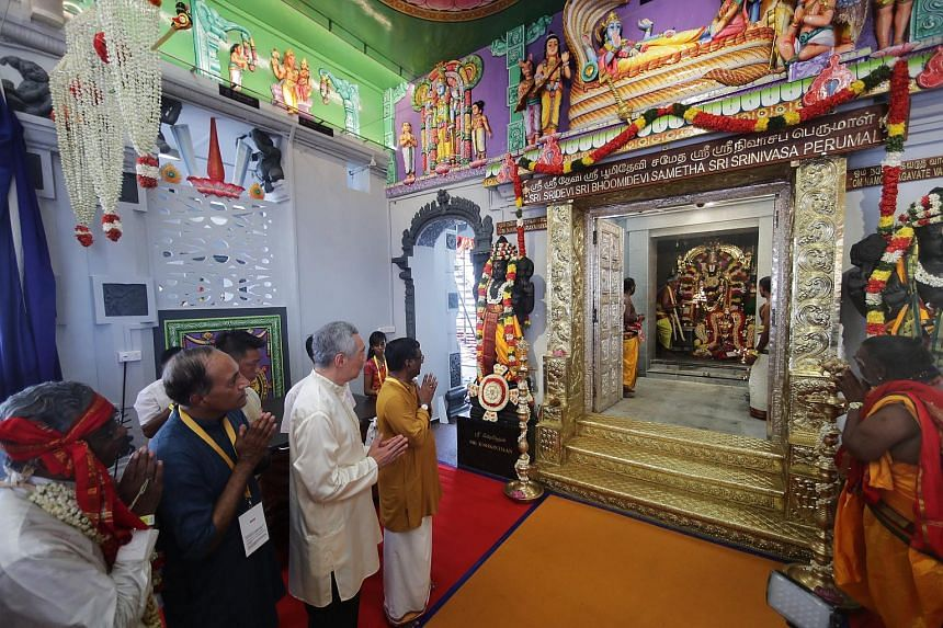 PM Lee Hsien Loong at the consecration ceremony of the Sri Srinivasa Perumal Temple in Little India, on April 22, 2018.