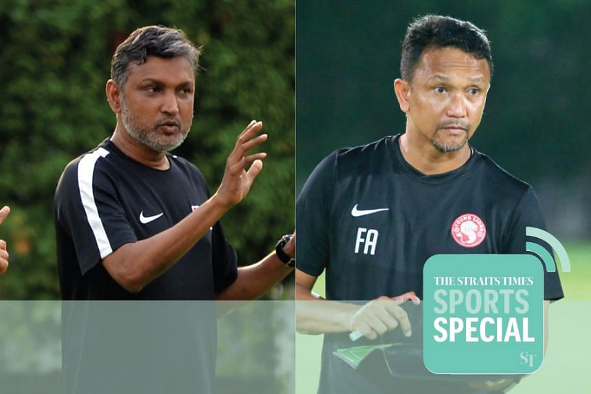 Former head coach of the Singapore national team V. Sundram Moorthy and Young Lions coach Fandi Ahmad