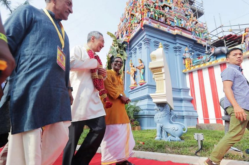 PM Lee arriving for the consecration ceremony at the Sri Srinivasa Perumal Temple, on April 22, 2018.