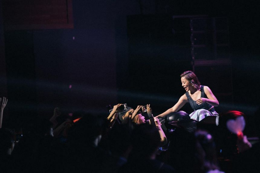 Chinese singer Della Ding Dang during her concert at The Star Theatre on April 21, 2018.