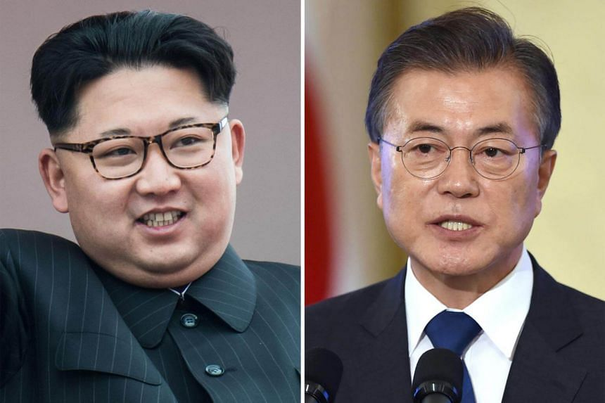 The summit between South Korean President Moon Jae In (right) and North Korean leader Kim Jong Un will be broadcast live and relayed to the public online.