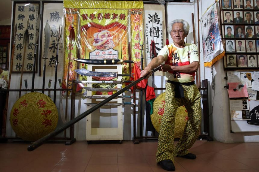 Singapore Hong Sheng Koon master Chia Yan Soon, 82, who is also the Honarable Chief of Hong Sheng Koon Chinese Koontow and Lion Dance Society, has taught both the martial art and lion dance for decades.