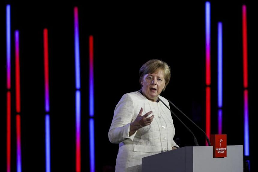 The German Chancellor Angela Merkel speaks during the opening ceremony of the Hanover Industrial Trade Fair in Hannover, northern Germany, on April 22, 2018.