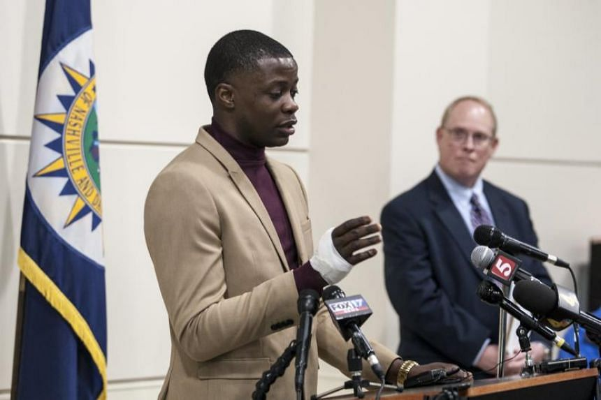 James Shaw Jr., hailed as a hero after he wrestled an assault rifle away from gunman at a Waffle House Restaurant, speaks during a press conference in Nashville, Tennessee, US, on April 22, 2018.
