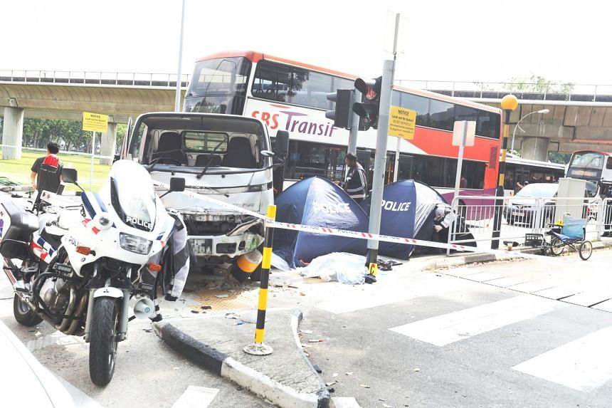 The police were alerted to a traffic accident involving a lorry, an SBS Transit bus and three pedestrians in Ang Mo Kio Avenue 6 at about 9.30am, on April 23.