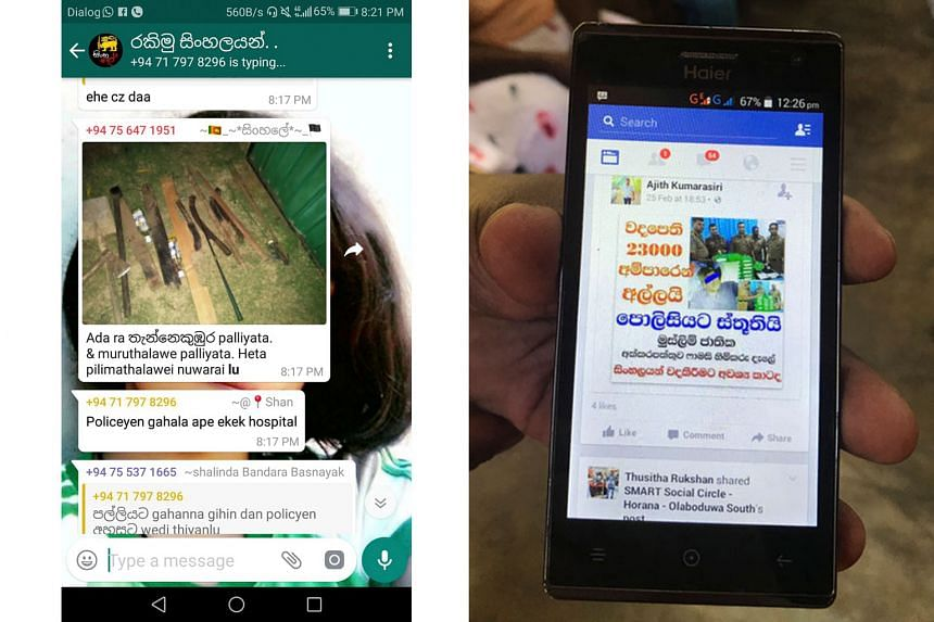 A reconstruction of Sri Lanka's descent into violence found that Facebook's newsfeed played a central role - from a post (left) by a WhatsApp user of a photo of makeshift weapons and a list of mosques to target as anti-Muslim mobs descended on severa