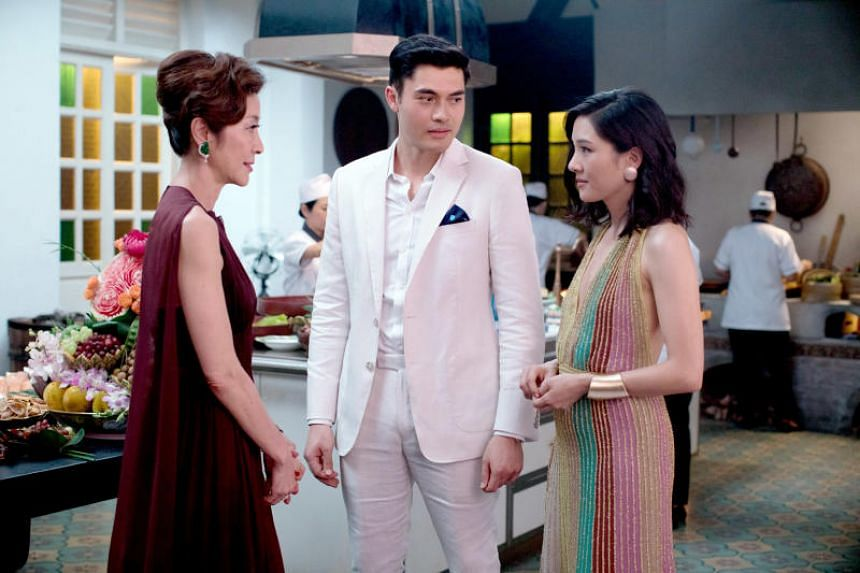 A cinema still from Crazy Rich Asians, starring (from left) Michelle Yeoh, Henry Golding and Constance Wu.