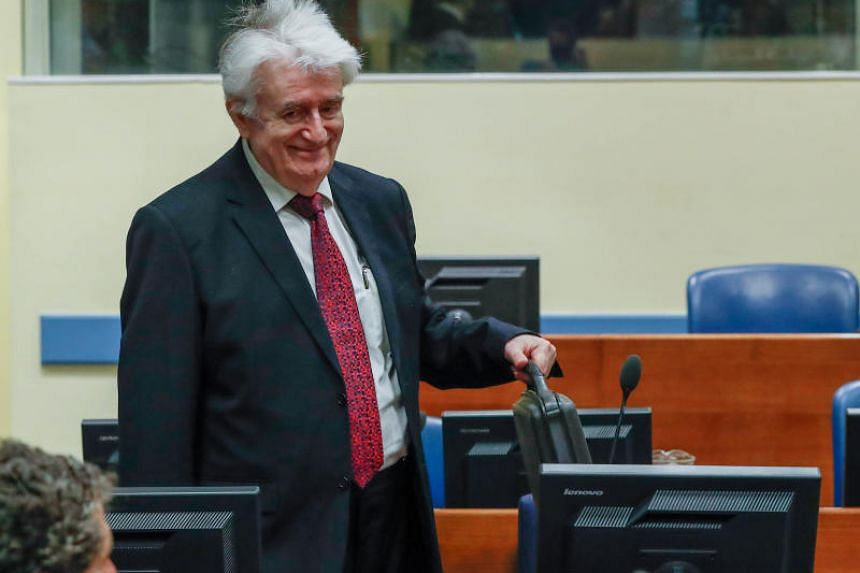 Radovan Karadzic at the tribunal in The Hague at the start of his two-day appeal.