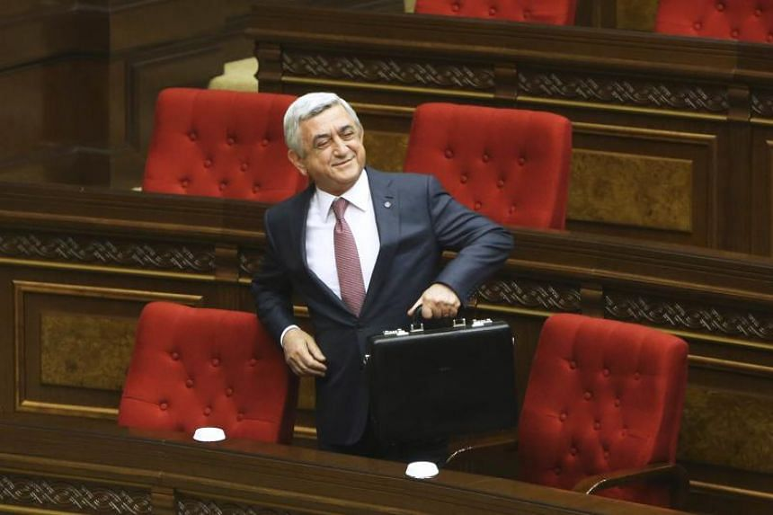 Armenia's former president turned prime minister Serzh Sarksyan attending a session of Parliament on April 17, 2018. He said he would resign as prime minister to help maintain peace in the country.