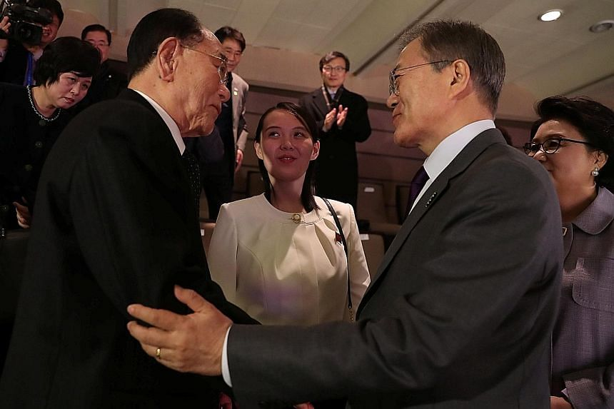 South Korean President Moon Jae In with North Korea's president of the Presidium of the Supreme People's Assembly Kim Young Nam (left) as Ms Kim Yo Jong, the sister of North Korea's leader Kim Jong Un, looks on in Seoul in February.