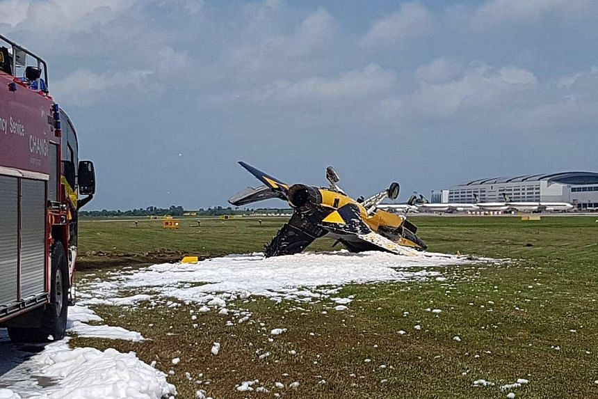 The accident occurred at about 1.20pm on Feb 6 during the Singapore Airshow, when an aircraft from the Black Eagles eight-member aerobatic team skidded and crashed into the grass verge at the side of Changi Airport's Runway 1 and caught fire.