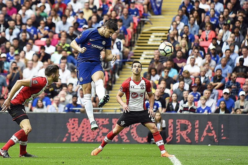 Alvaro Morata scoring to seal Chelsea's 2-0 win over Southampton in their FA Cup semi-final at Wembley on Sunday. Either the Blues or their final opponents Manchester United will end the season without a trophy.