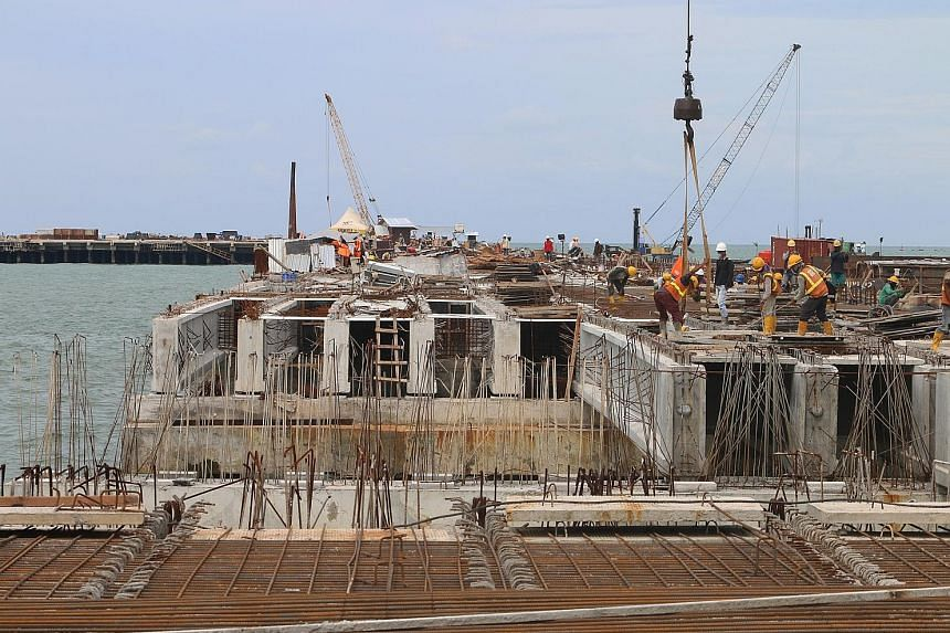 North Sumatra's Kuala Tanjung seaport under construction a few months ago. It is set to begin operations next month.