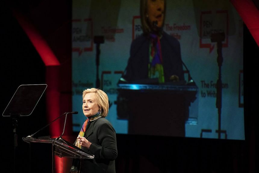 Hillary Clinton speaks at the PEN America's World Voices Festival in New York, on April 22, 2018.