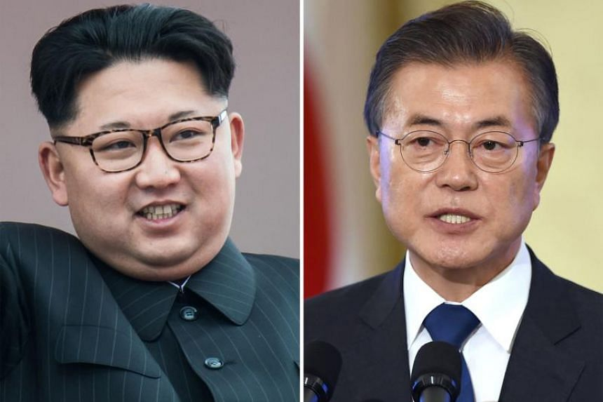 North Korean leader Kim Jong Un (left) has lived a life of luxury while  South's President Moon Jae In's family relied on food handouts from Catholic nuns.