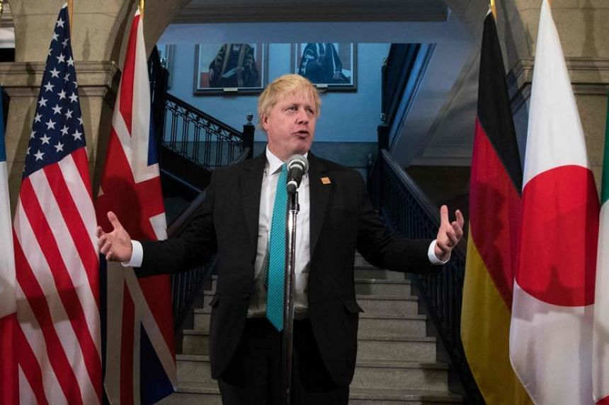 British Foreign Secretary Boris Johnson at the G7 Foreign Minister meeting in Toronto, Ontario on April 23, 2018.