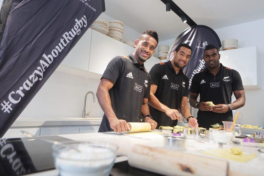 (From left) Akuila Rokolisoa, Sione Molia and Joe Ravouvou preparing pies for the Air New Zealand cook-off at Brettschneider's Baking and Cooking School on April 24, 2018.