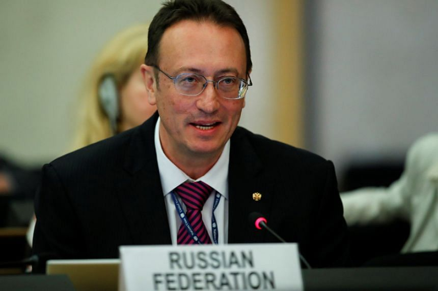 Russia's arms control envoy Vladimir Yermakov attends the second Preparatory session of the 2020 Non Proliferation Treaty Review Conference at the United Nations in Geneva on April 24, 2018.