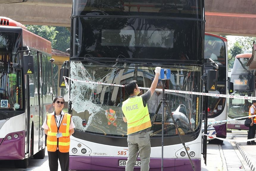An SBS bus that was damaged in the accident.