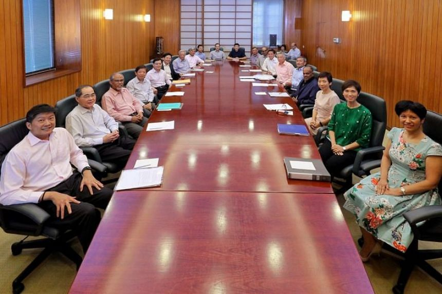 Prime Minister Lee Hsien Loong posted a photo of the current members of his Cabinet on Facebook after the reshuffle announcement on April 24, 2018.