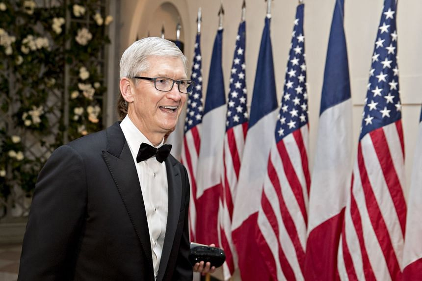 Tim Cook arriving for a state dinner in honour of French President Emanuel Macron at the White House.