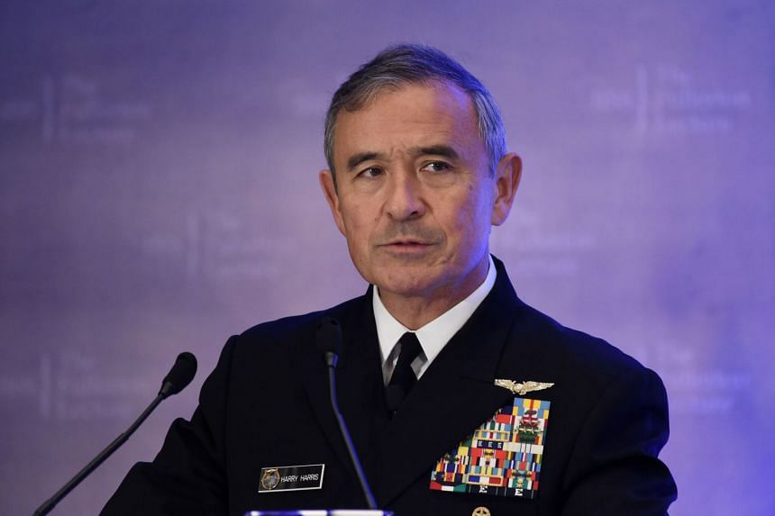 Admiral Harry Harris delivering a speech in Singapore in October 2017.