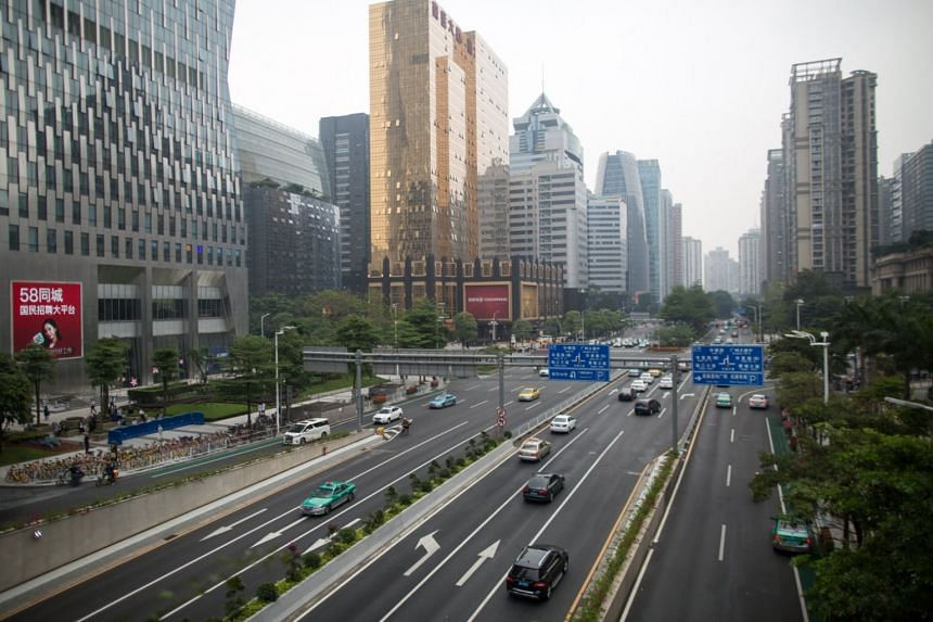 File photo showing a business district in Guangdong, China.
