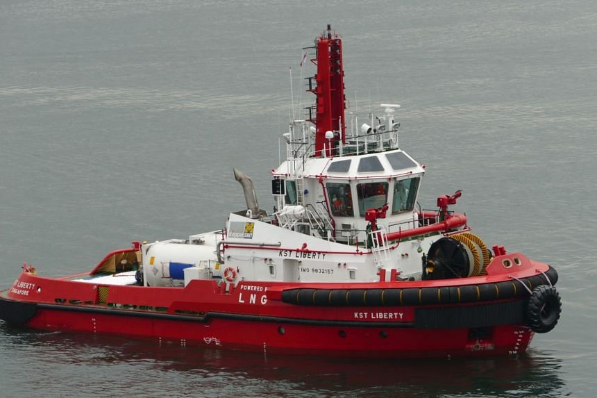 South-east Asia's first dual-fuel diesel and liquefied natural gas (LNG) tug, named KST Liberty on Wednesday, will be delivered in a few weeks.