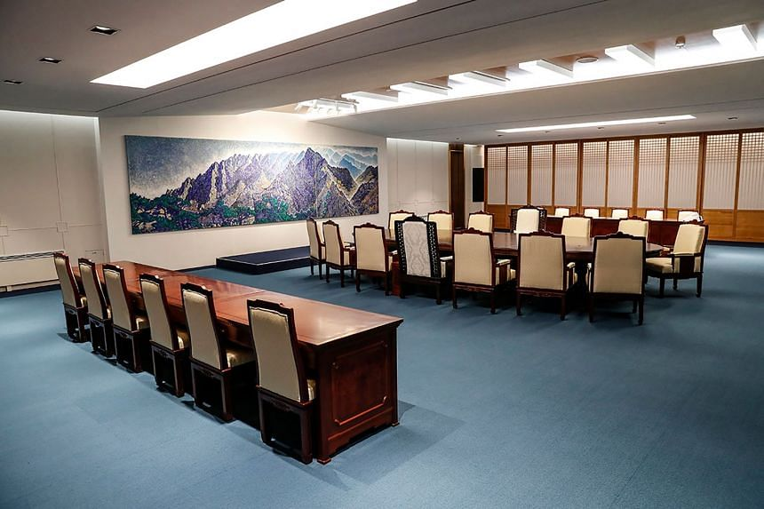 The meeting room for the upcoming inter-Korean summit at the border truce village of Panmunjom in the Demilitarised Zone dividing the two Koreas.