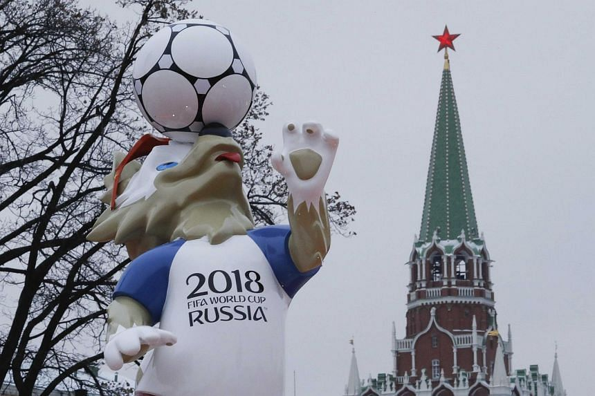 The official mascot for the 2018 Fifa World Cup Russia, Zabivaka, is on display near a tower of the Kremlin in central Moscow, on Nov 29, 2017.