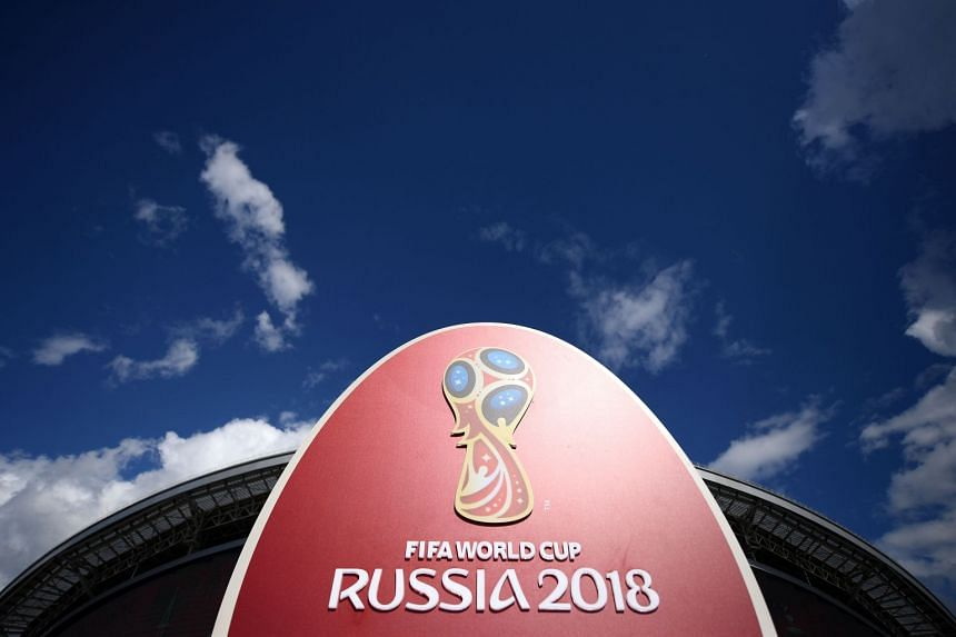 The 2018 World Cup logo outside the Kazan Arena stadium in Kazan, Russia, ahead of the Russia 2017 Confederation Cup football tournament, on on June 17, 2017.