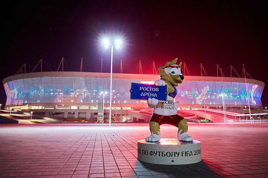 The 2018 Fifa World Cup Official mascot Zabivaka outside the stadium after a match.